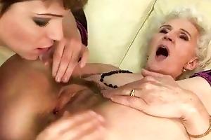 granny enjoys lesbo sex with juvenile cutie