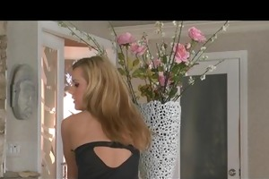 hot blond teen floozy in lingerie strips &