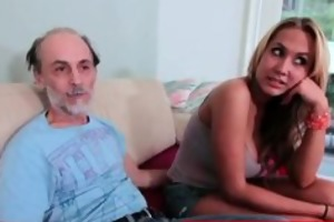 grandpa getting a tit slap from a blond whore