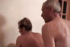 an old mans drilling recent guys asshole with fun