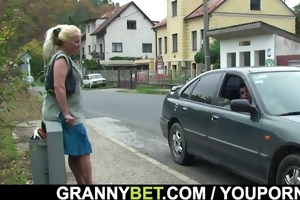 granny is picked up and doggystyled