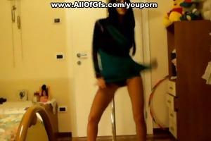 topless angel shows ass pole dance