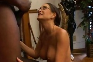 hawt milf in glasses deepthroating black part4