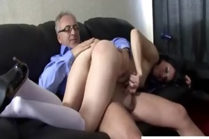 bitch receives nailed by an old man