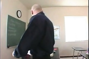 golden-haired coed rubs her pussy to her teachers
