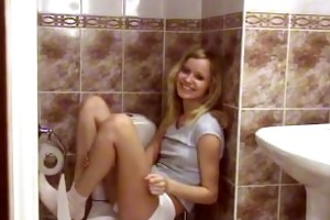 diminutive teen playing in the bathroom