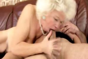 older golden-haired granny sucks and fucks hard