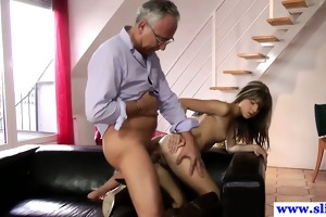 young european slut copulates old mans dick