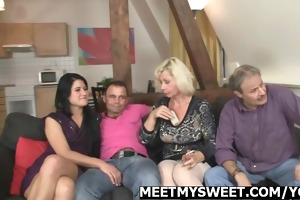 mature daddy and mom group-sex their sons gf