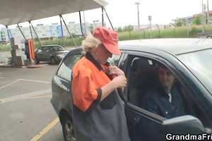 old whore takes dongs outside