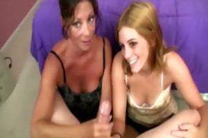 mum and daughter bond over a handjob