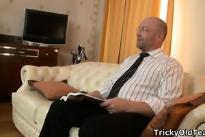 sexy missy pounded wildly on teachers couch.