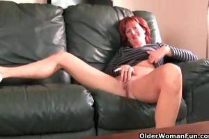 redheaded older mommy plays with her nipples and