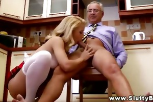 young euro hottie sitting on old mans schlong