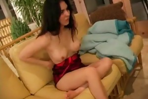 gal fondles her pussy