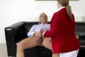 brunette chick fucked into ass by old man