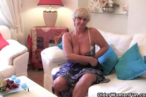 chubby grandma with big old tits bonks a sex tool