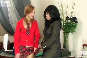 lesbo lady boss strapon copulates her secretary
