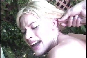 enticing youthful juggy blond bitch thrashed on a