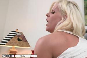big-tit blond cougar picks up a juvenile stud to