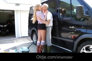 favourable oldman fucks exqusite blonde teen in a