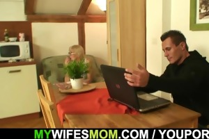 he copulates old mom-in-law right on the table
