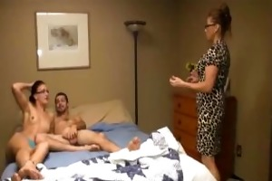 busty milf sucks a dick in front of her daughter