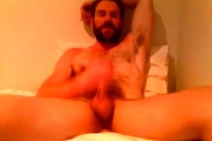 bear daddy jerks off in ottoman