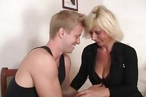 old blond is doggy-style fucked