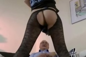 babe in nylons fucks old man