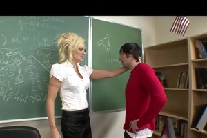 horny big-tit blond school teacher fucks students