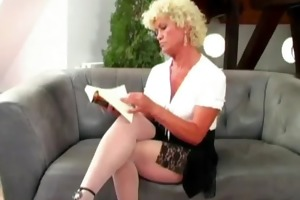 granny blonde floozy with sexy younger chap