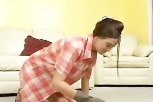 excited housewife enjoys large dick