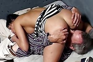 cute brunette prisoner got nailed by old guy