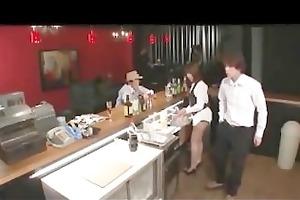 cute pub staff drilled by work fella
