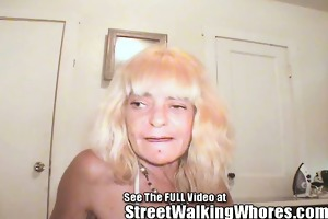 old ass whore walks streets with 1 eye