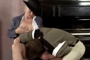 blonde mature masturbating and fucks first guy by