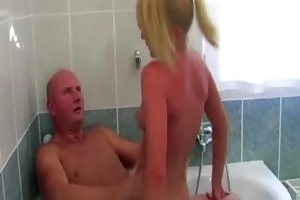 grandpa bonks blonde hottie in bath