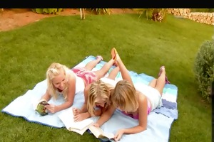 three beautiful young blonde lesbians in the
