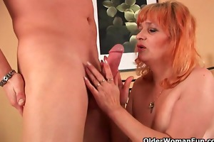 granny with big mounds sucks cock and gets fucked