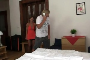 hot threesome in a hotel room