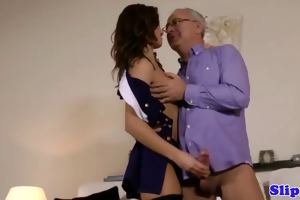 stylish brittish babe rides old man
