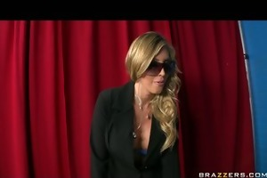 blond large tit young security agent in nylons