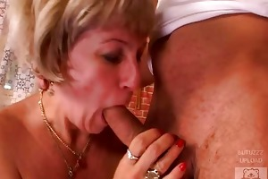 mature mother and the sons friend have a good