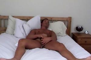 athletic straight guy rock masturbating