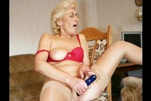 grandmom in pantyhose masturbating with fake penis