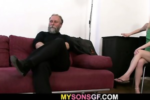 dad punishes his gf and gets caught by son