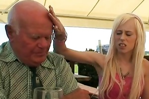 blond babe fucking an old guy