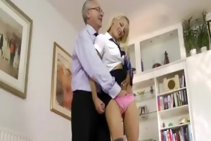 juvenile woman fingered by old stud and likes it