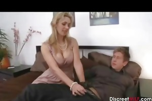 horny mommy with juvenile lad in bedroom